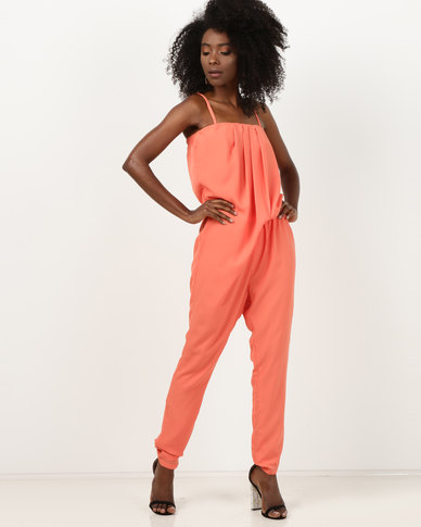 Utopia Boobtube Jumpsuit With Removable Straps Coral