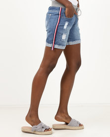 Utopia Mid Wash Denim Shorts With Side Stripe Blue