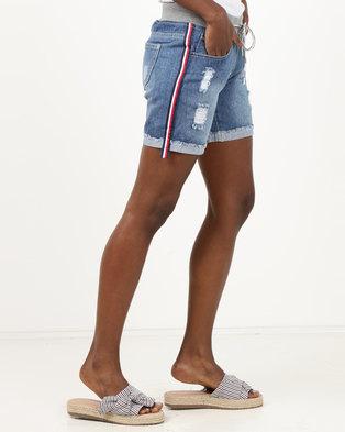 Utopia Mid Wash Denim Shorts With Side Stripe Blue