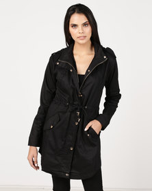 Utopia Cotton Parka Jacket With Detachable Hood Black