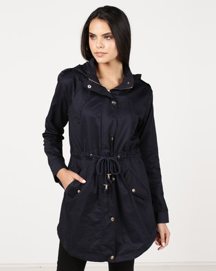 Utopia Cotton Parka Jacket With Detachable Hood Navy