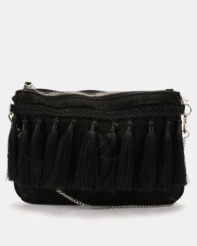 New Look Tiffany Tassel Clutch Bag Black