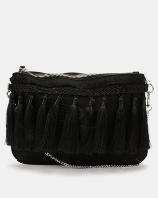 New Look Tiffany Tassel Clutch Bag Black