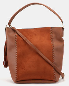 New Look Ivy Whipstitch Tassel Hobo Bag Tan