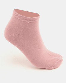 New Look 4PP Woodland Scene Trainer Socks Pink Pattern Multi