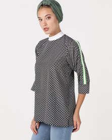 Shop.Style.Snap Mono Print Top Black/White
