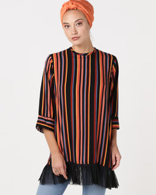Shop.Style.Snap Stripe Top And Tule Mix Multi