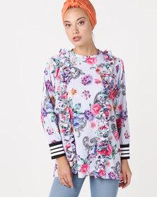 Shop.Style.Snap Stripe Top White Floral