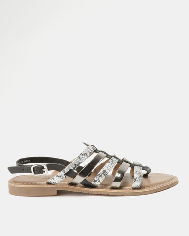 Queue Leather Strappy Metallic And Animal With Back Strap Sandals Pewter/Snake
