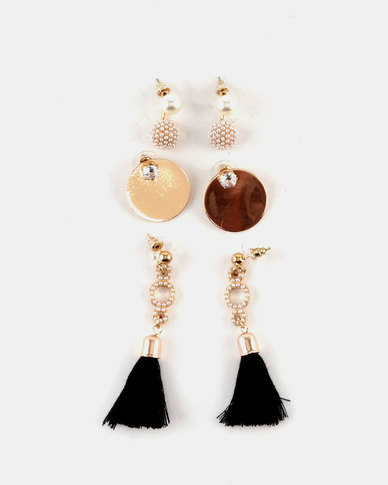 Queenspark Pearl And Tel With Gold Disk Earrings