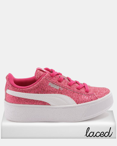 9c30135ae Puma Girls Vikky Platform Glitz AC PS Sneakers Pink | Zando