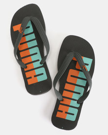Puma Sportstyle Core First Flip Flops Word ZADP Iron Gate-Biscay Green-Firecracker