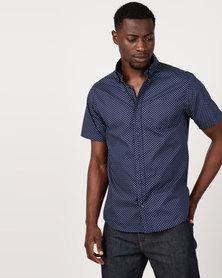 JCrew Print Short Sleeve Shirt Navy