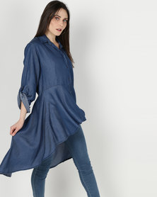 cath.nic By Queenspark Hi Lo Button Through Tencel Woven Top Indigo