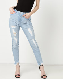 Sissy Boy Rip & Repair Moms Jeans Med Blue