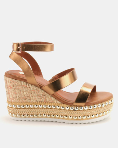 Footwork Bessie Wedges Bronze