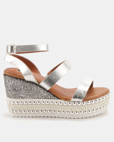 Footwork Bessie Wedges Silver