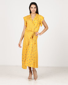 Paige Smith Wrap Short Sleeve Spot Dress Grey & Yellow