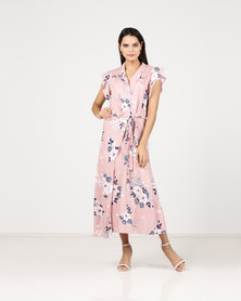 Paige Smith Wrap Short Sleeve Floral  Dress Pink