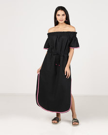 Paige Smith Off Shoulder Kaftan Dress Black