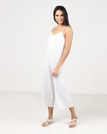 Paige Smith Strap Stripe Jumpsuit Ivory & Blue