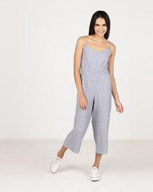 Paige Smith Strap Stripe Jumpsuit Blue & Ivory