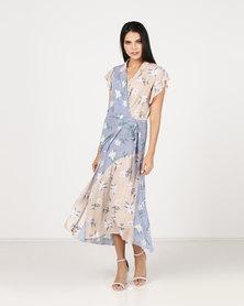 Paige Smith Wrap Short Stripe Sleeve & Floral Dress Multi