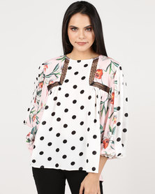 Paige Smith Boho Floral & Spot Detail Shirt Multi