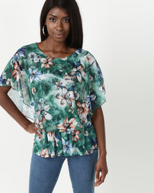 Queenspark Double Layer Knit Top Green