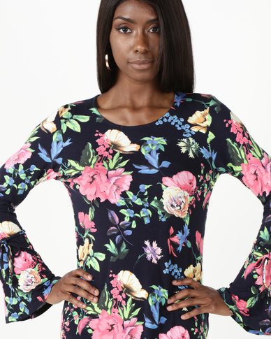 cath.nic By Queenspark Floral Printed Knit Top With Tie Sleeves Navy