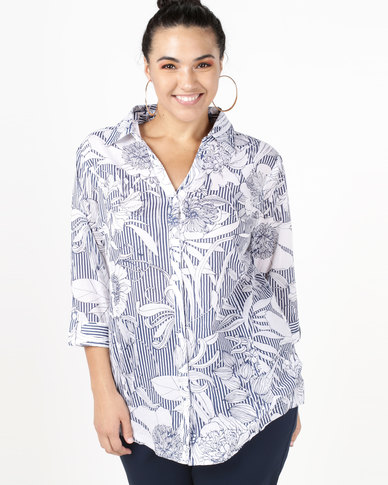 Queenspark Pintuck Stripe & Floral Printed Voile Shirt Navy
