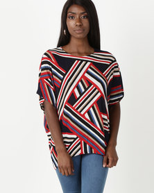 Miss Cassidy By Queenspark Expression Story Geometric Knit Top Multi