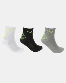 Nike Hbr Dri-Fit Crew Black W Volt Socks Multi