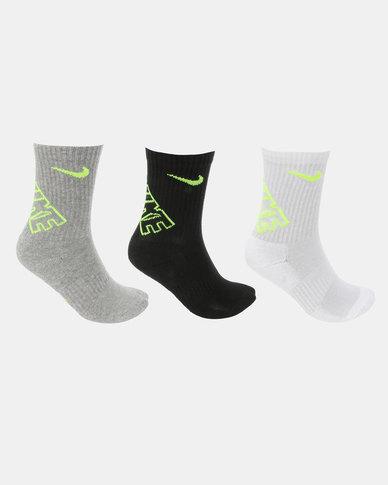 Nike Hbr Dri-Fit Crew Socks Black W Volt Multi