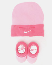 Nike Simple Swoosh Hat & Bootie Set Pink Nebula