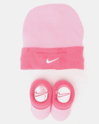 Nike Simple Swoosh Hat & Bootie Set Pink Nebula