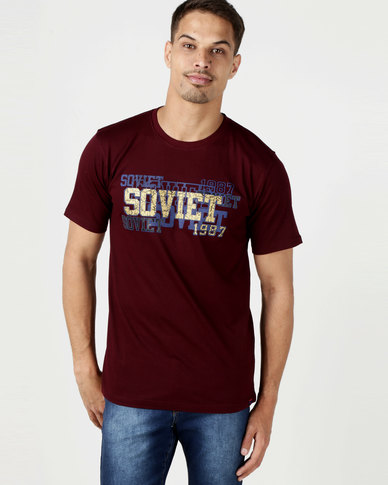 Soviet Fresno Short Sleeve One Up Logo Tee Bordeaux
