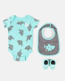 Hurley Shark Print Onesie Baby Bib Set Light Aqua