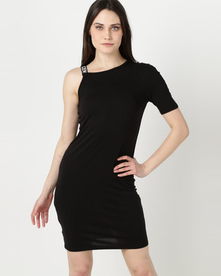 N'Joy Adriana Printed Strap Detail One Shoulder Dress Black