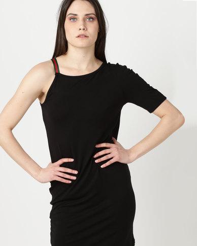 N'Joy Jerry Printed Strap Detail One Shoulder Dress Black