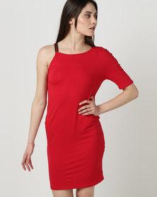 N'Joy Jerry Printed Strap Detail One Shoulder Dress Red