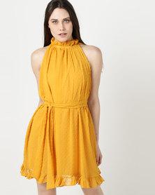 Rustiq Gia Gathered Dress Yellow