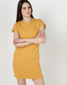 Silent Theory Tee Dress Gold