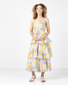 Utopia Triple Tiered Strappy Maxi  Yellow Tropical Print