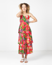 Utopia Triple Tiered Strappy Maxi Red Tropical Print