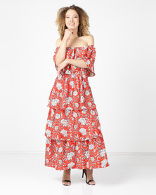 Utopia Pleated Tiered Maxi Red Print