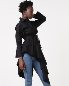 Utopia Asymmetrical Shirt With Belt Black