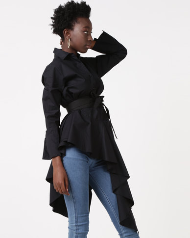Utopia Asymmetrical Shirt With Belt Black