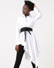 Utopia Asymmetrical Shirt With Belt White