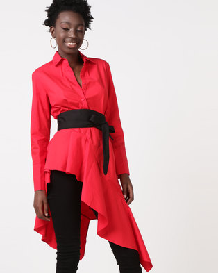 Utopia Poppy Asymmetrical Shirt With Belt Red